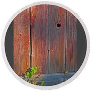 Round Beach Towel featuring the photograph Old Barn Wood by Ann Horn