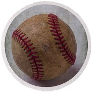 Old Baseball Round Beach Towel