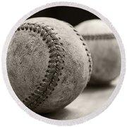 Old Baseballs Round Beach Towel by Edward Fielding