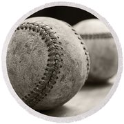 Old Baseballs Round Beach Towel