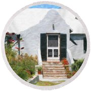 Round Beach Towel featuring the photograph Old Bermuda Home by Verena Matthew