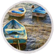 Round Beach Towel featuring the photograph Old Bermuda Rowboats by Verena Matthew