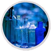Old Blue Glass Bottles In The Window... Round Beach Towel