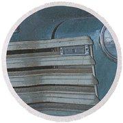 Old Blue Round Beach Towel by Lynn Sprowl