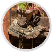 Old Boot Potted Plant - Swiss Alps Round Beach Towel