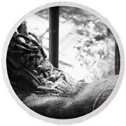 Round Beach Towel featuring the photograph Old Boots by Clare Bevan