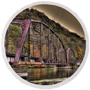Round Beach Towel featuring the photograph Old Bridge Over Lake by Jonny D