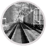 Old Bristol Rail In Ellensburg Round Beach Towel