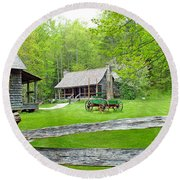 Old Cabins At The Cradle Of Forestry Round Beach Towel