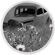 Round Beach Towel featuring the photograph Old Car by Leticia Latocki