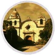 Old Carmel Mission - Watercolor Round Beach Towel
