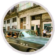 Old Cars On A Street, Havana, Cuba Round Beach Towel