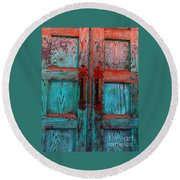 Old Church Door Handles 1 Round Beach Towel by Becky Lupe