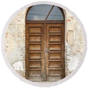 Round Beach Towel featuring the photograph Old Church Door by Les Palenik