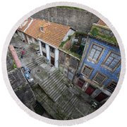Old City Of Porto In Portugal From Above Round Beach Towel