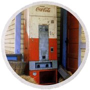 Old Coke Machine Round Beach Towel