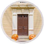 Old Colonial Era Front Door With Pumpkins Round Beach Towel