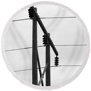 Old Country Power Line Round Beach Towel