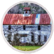 Old Country Schoolhouse Round Beach Towel by Tom Culver