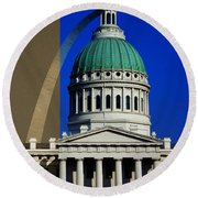 Old Courthouse Dome Arch Round Beach Towel