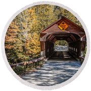 Round Beach Towel featuring the photograph Old Covered Bridge Vermont by Edward Fielding