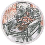 Round Beach Towel featuring the drawing Old Cozy Chair by Teresa White