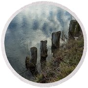 Old Dock Supports Along The Canal Bank - No 1 Round Beach Towel
