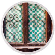 Round Beach Towel featuring the photograph Old Door by Silvia Ganora