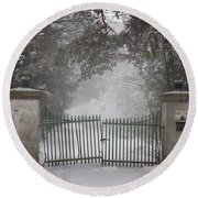 Old Driveway Gate In Winter Round Beach Towel