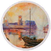 Old Dunbar Harbour Round Beach Towel