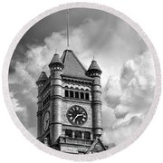 Old Dupage County Courthouse Clouds Black And White Round Beach Towel