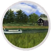 Round Beach Towel featuring the painting Old Erie by Lynne Reichhart
