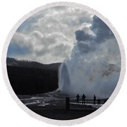Round Beach Towel featuring the photograph Old Faithful Morning by Michele Myers