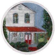 Old Farm House Round Beach Towel
