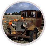 Round Beach Towel featuring the photograph Old Farm Truck by Michael Gordon