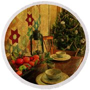 Round Beach Towel featuring the photograph Old Fashion Christmas At Atalaya by Kathy Baccari
