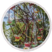 Old Fashioned Ferris Wheel Round Beach Towel