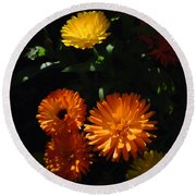 Old-fashioned Marigolds Round Beach Towel by Martin Howard