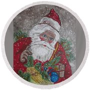 Old Fashioned Santa Round Beach Towel by Kathy Marrs Chandler