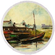 Old Fisherman's Village Round Beach Towel