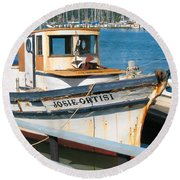 Old Fishing Boat In Sausalito Round Beach Towel by Connie Fox