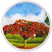 Old Flamboyan Round Beach Towel