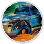 Old Ford In The Back Of The Field Round Beach Towel by Elise Palmigiani