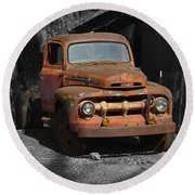 Old Ford Truck Round Beach Towel by Richard J Cassato