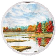 Old Forge Autumn Round Beach Towel