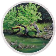 Round Beach Towel featuring the painting Old Friends by Karen Ilari
