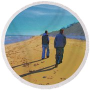 Old Friends Long Shadows Round Beach Towel