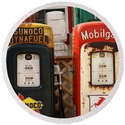 Old Fuel Pumps Round Beach Towel