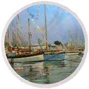 Old Gaffers  Yarmouth  Isle Of Wight Round Beach Towel by Jennifer Wright
