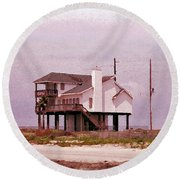 Old Galveston Round Beach Towel by Tikvah's Hope